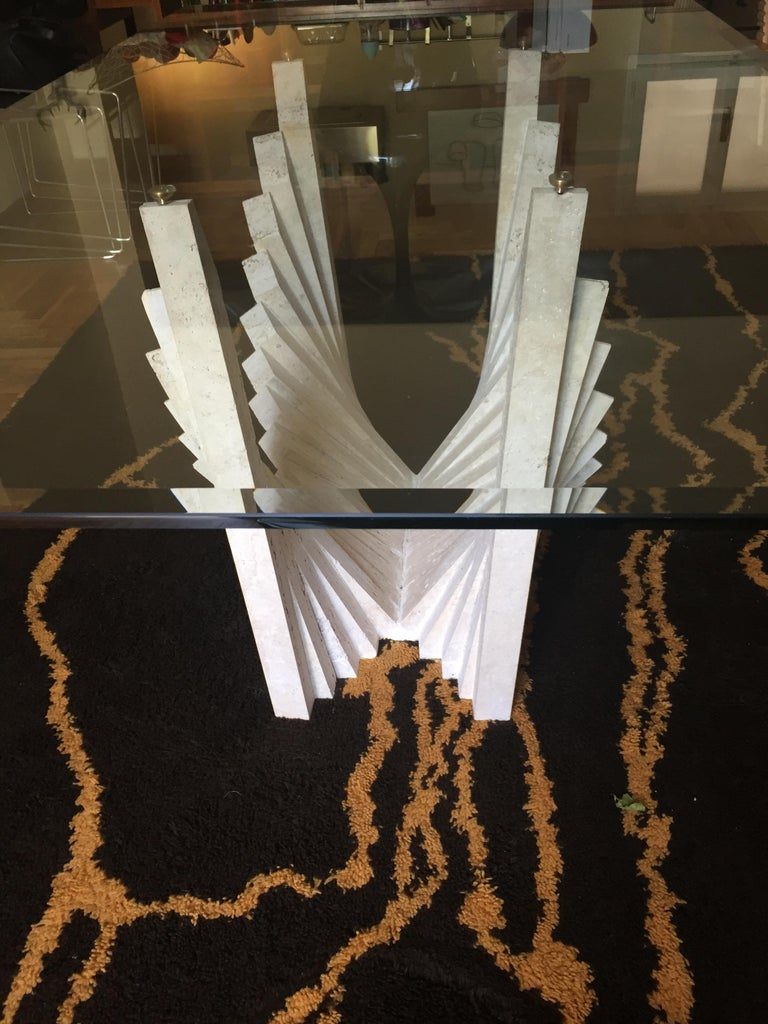 Table Sculpture, Travertine, Top in Glass, circa 1970, Italy In Good Condition For Sale In Florence, IT