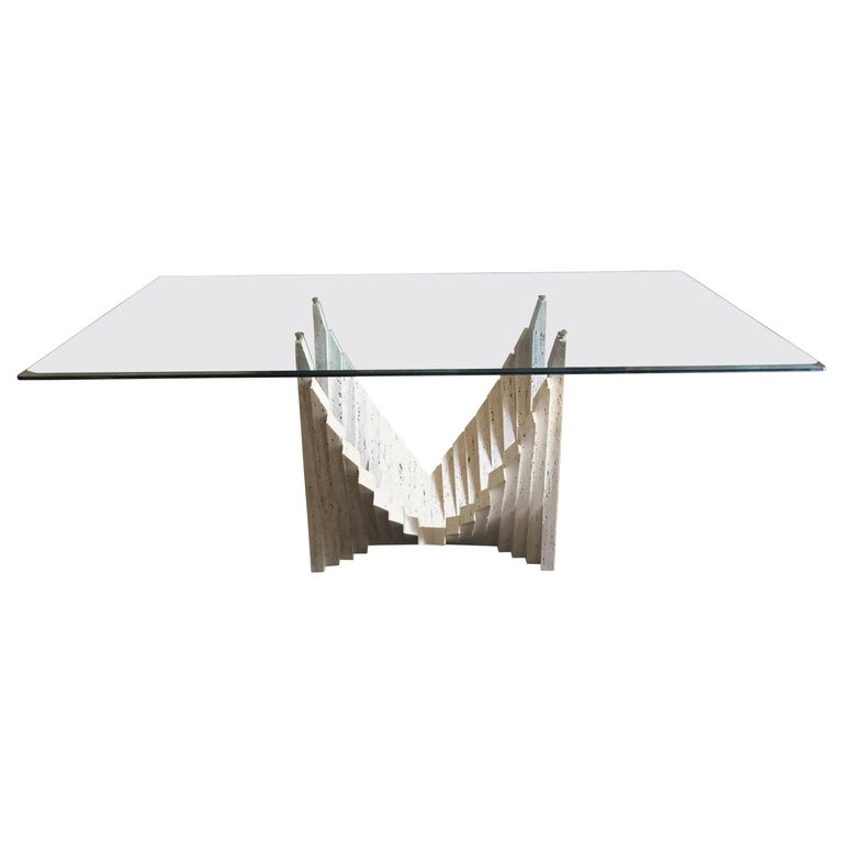 Table Sculpture, Travertine, Top in Glass, circa 1970, Italy For Sale