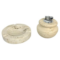 Table Set of Travertine Marble Ashtray and Lighter, Fratelli Manelli Style, 1970