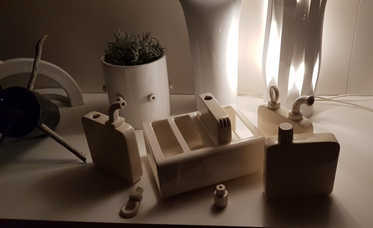 Hand-Crafted Table Set, Oil, Vinegard, Salt and Pepper