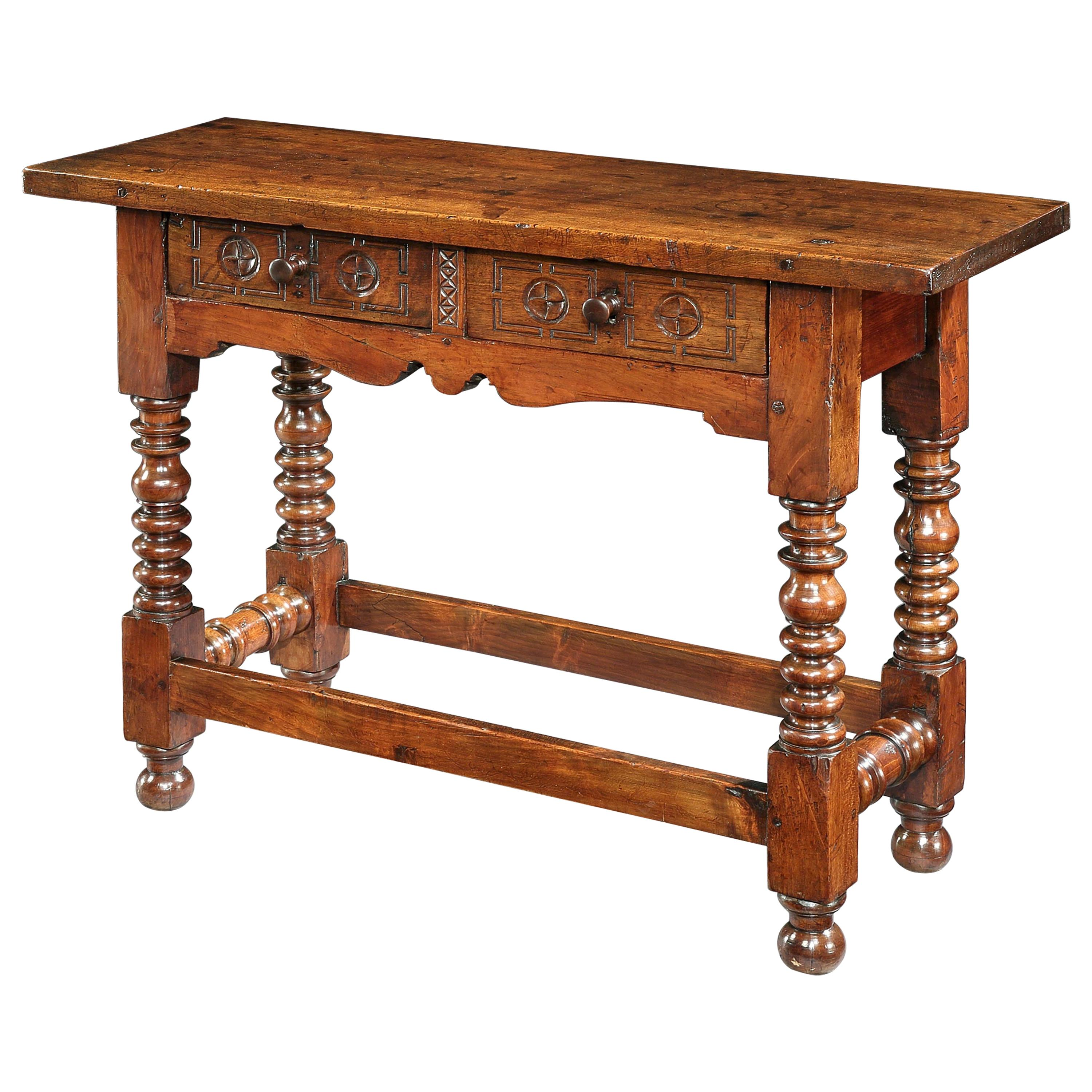 Table, Side Table, Console, 17th Century, Spanish, Baroque, Walnut, Chip Carving