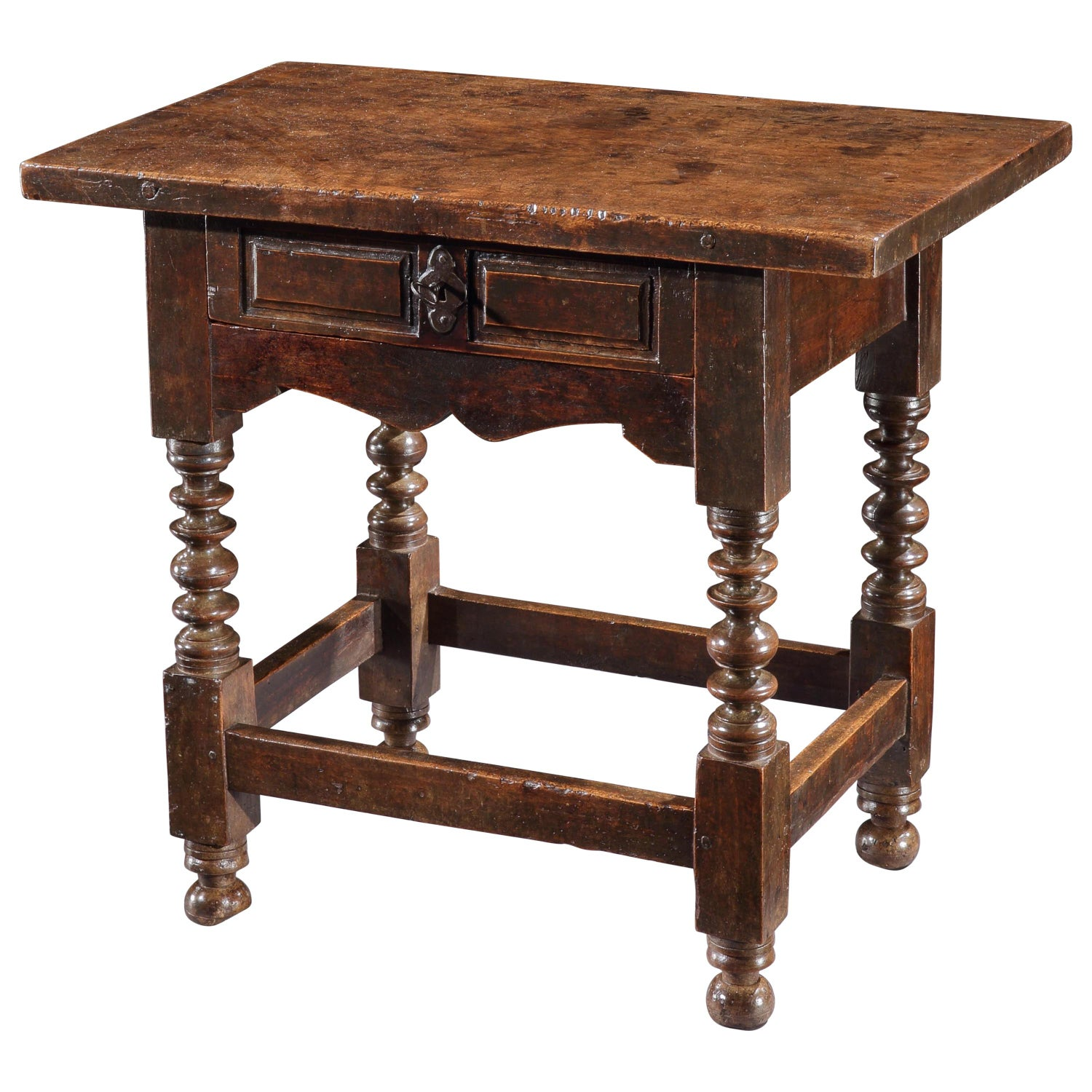 Table, Sidetable, Walnut, Spanish, Baroque, Ironwork, 1 1/2 Inch Thick Top