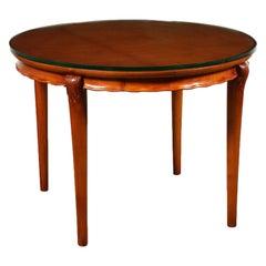 Table Solid Beech Mahogany Veneer Glass Italy 1950s