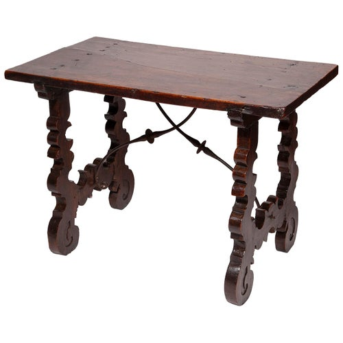 Table Spanish Walnut One Piece Top Baroque Ironwork Narrow Foils Lyre