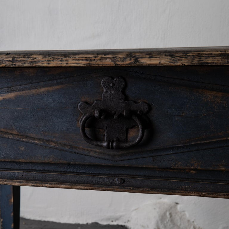 Folk Art Table Swedish Black Blue, 19th Century, Sweden For Sale