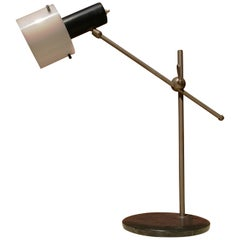 Table T Lamp in Steel, with Plexiglass White and Marble Base