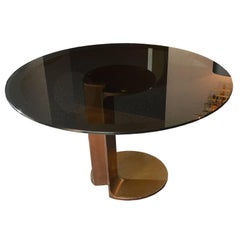 Table TL59 in Bronze and Glass by Afra and Tobia Scarpa, Italy, 1975