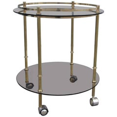 Table Trolley 1970s Bar in Brass and Dark Glasses