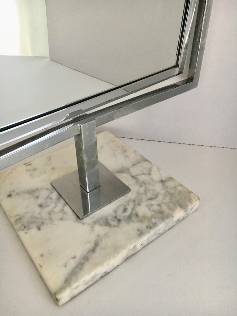 20th Century Table Vanity Mirror on Marble Base after Charles Hollis Jones For Sale