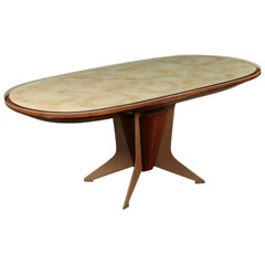 Table, Veneer Wood Metal Back-Treated Glass, Italy, 1950s-1960s