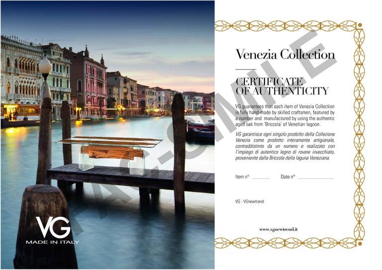 Table Venezia, in Glass and Venetian Briccola, Italy For Sale 3
