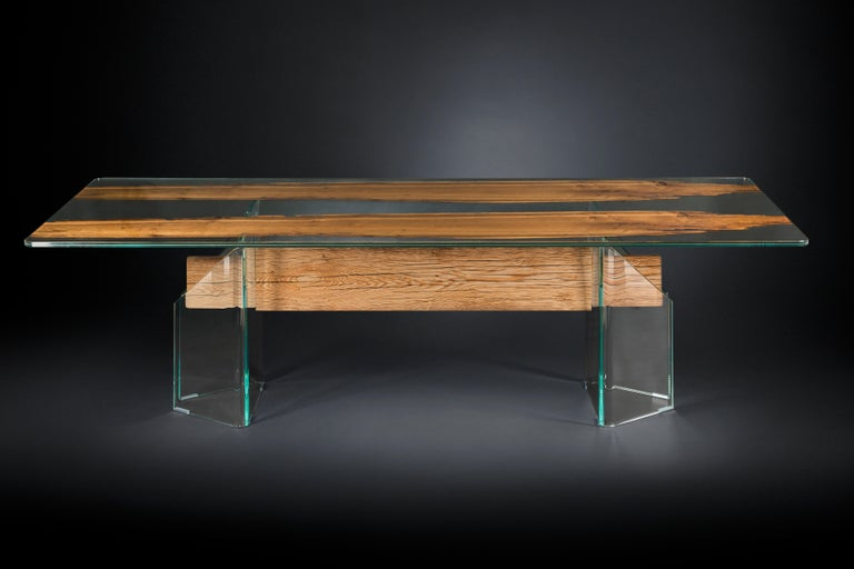 Hand-Crafted Table Venezia, in Glass and Venetian Briccola, Italy For Sale