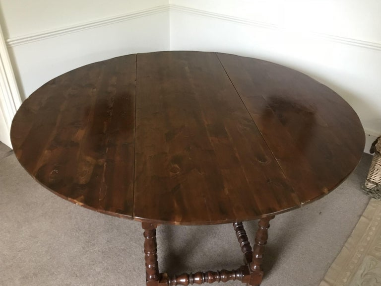 Charles II Table, Vintage Baroque-Revival, Yewwood, Gateleg For Sale