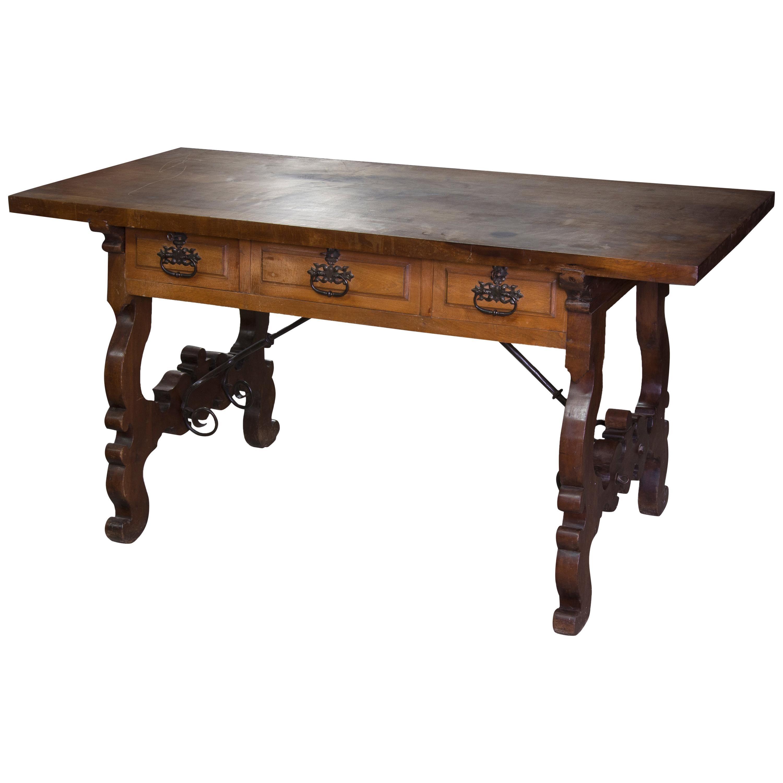 Table Walnut, Wrought Iron, León Spain, 17th Century