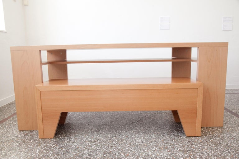Greek 21st Century, Minimalist, European, Beechwood Table with Secret Shelf and Bench For Sale