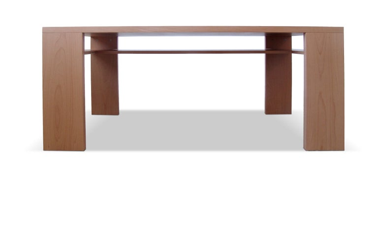 Contemporary 21st Century, Minimalist, European, Beechwood Table with Secret Shelf and Bench For Sale