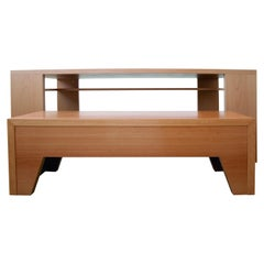 21st Century, Minimalist, European, Beechwood Table with Secret Shelf and Bench