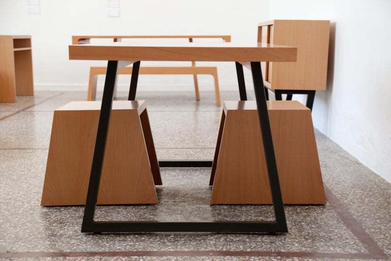 Contemporary 21st Century, Minimalist, European, Beechwood Table with Metal Base and a Stool For Sale