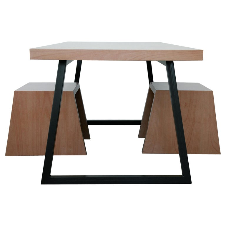 21st Century, Minimalist, European, Beechwood Table with Metal Base and a Stool For Sale