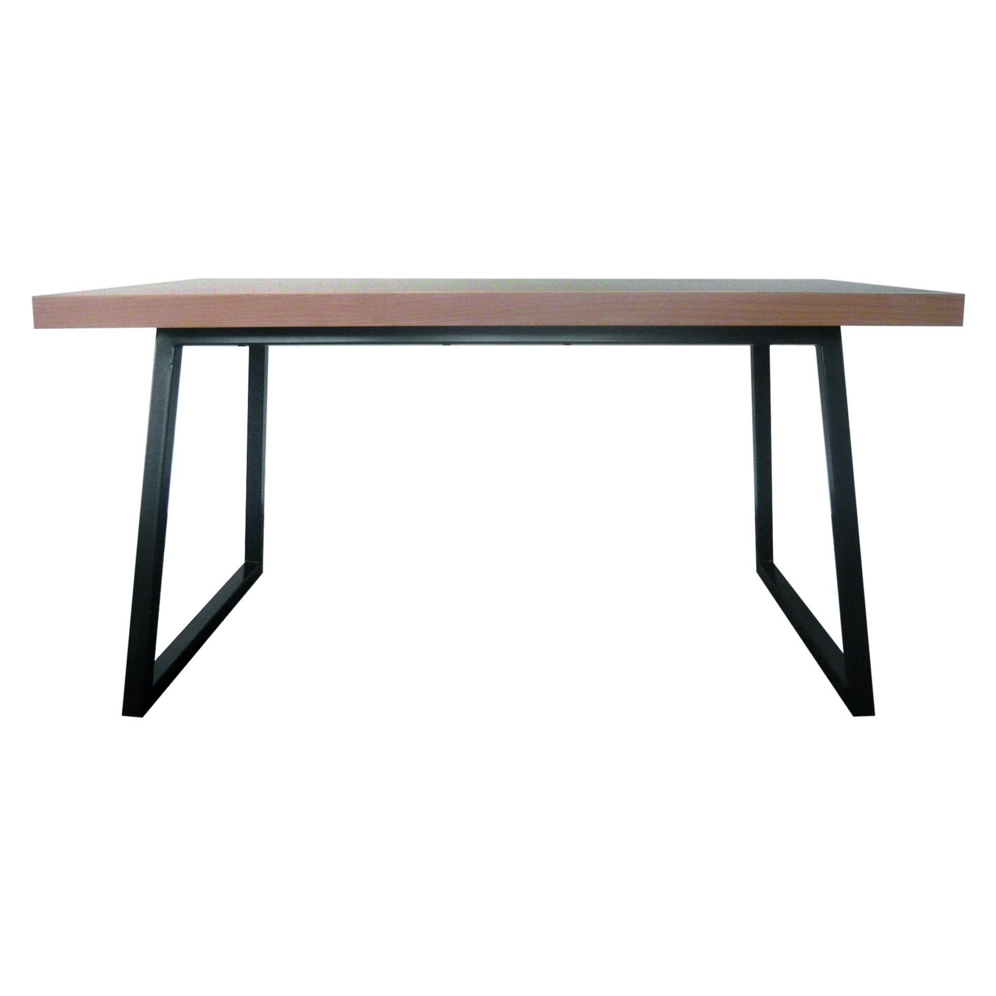 21st Century, Minimalist, European, Table of lined beechwood and Metal Base