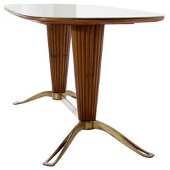 Table with Tapered Column Base and Glass Top