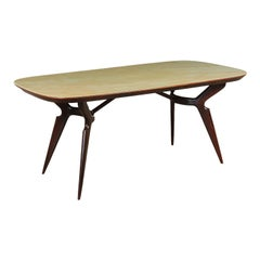 Table Wood and Glass Italy 1950s Italian Prodution
