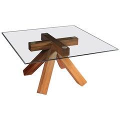 Table Wood Glass Mario Bellini 1970s-1980s Cassina