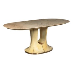 Table Wood Marble Brass and Parchment 1940s-1950s Italian Prodution