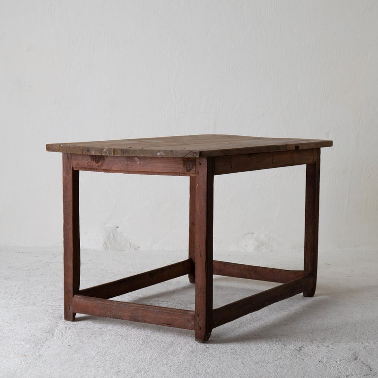 Table Work Table Swedish Rustic 18th Century Red Brown Sweden For Sale 6