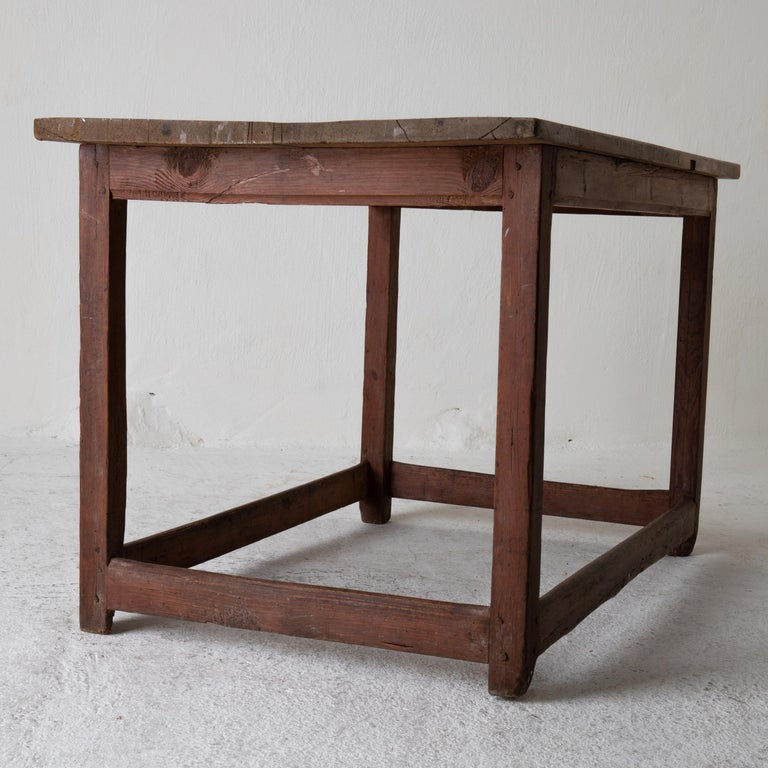 Table Work Table Swedish Rustic 18th Century Red Brown Sweden For Sale 7