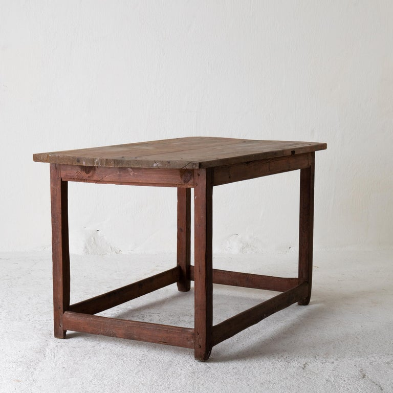 Table Work Table Swedish Rustic 18th Century Red Brown Sweden For Sale 8