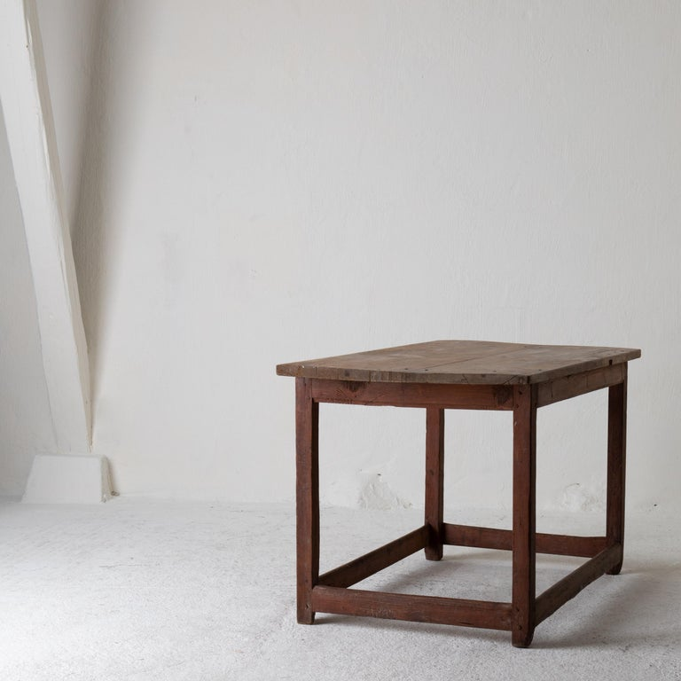Table Work Table Swedish Rustic 18th Century Red Brown Sweden For Sale 9