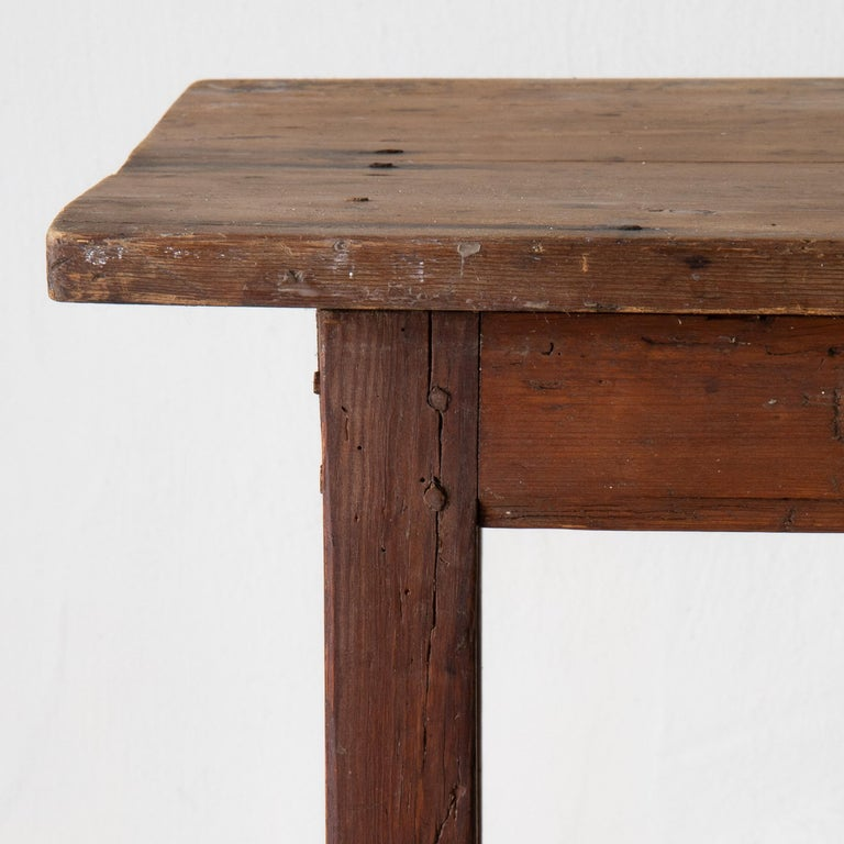 Folk Art Table Work Table Swedish Rustic 18th Century Red Brown Sweden For Sale