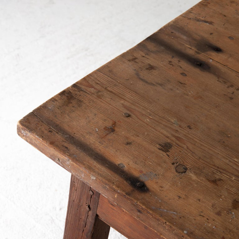 Hand-Painted Table Work Table Swedish Rustic 18th Century Red Brown Sweden For Sale