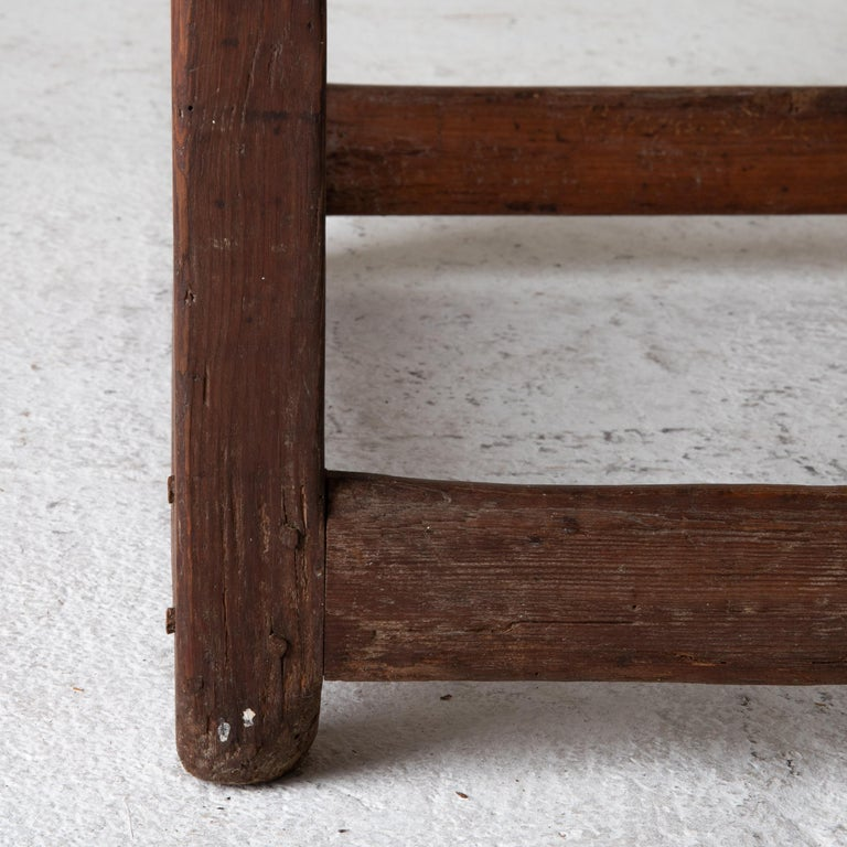 Wood Table Work Table Swedish Rustic 18th Century Red Brown Sweden For Sale