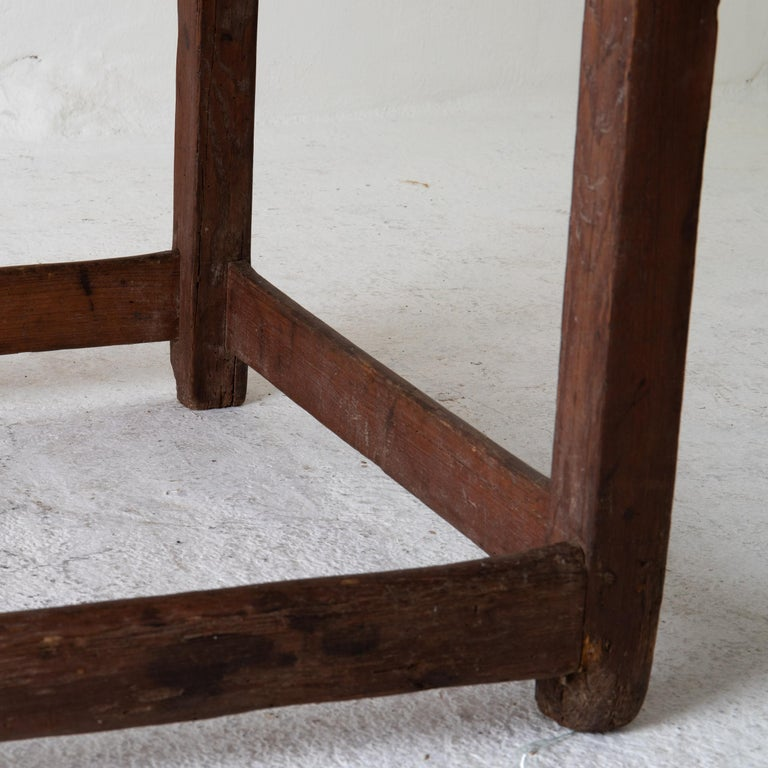 Table Work Table Swedish Rustic 18th Century Red Brown Sweden For Sale 3