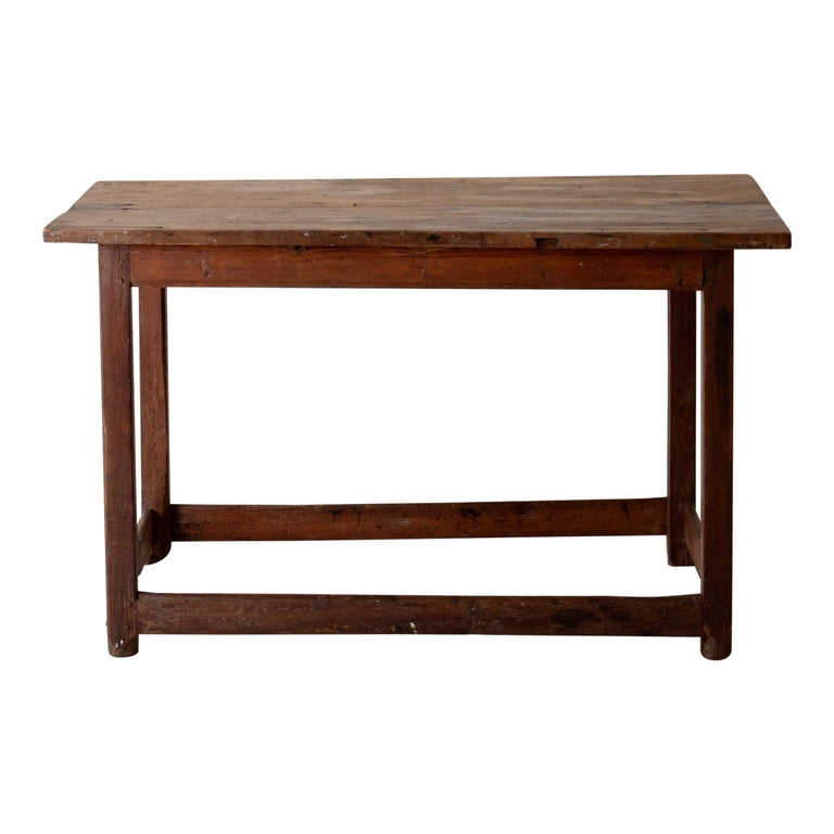 Table Work Table Swedish Rustic 18th Century Red Brown Sweden For Sale