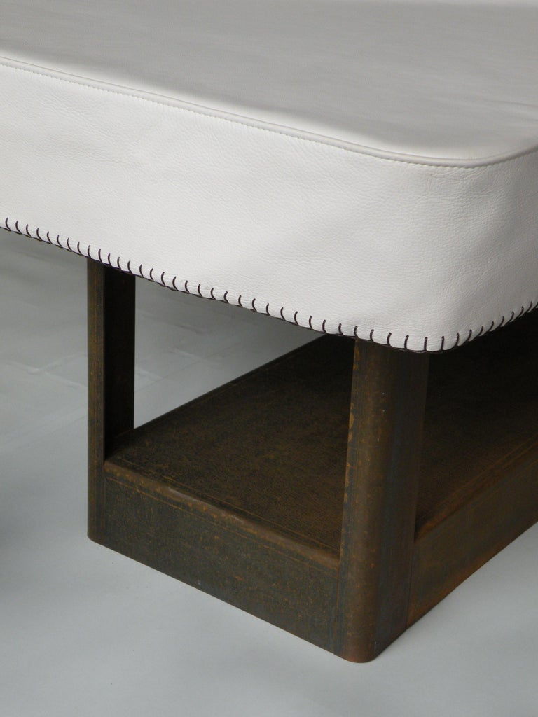 Metalwork 'Table&Cloth' Indoor and Outdoor Corten Steel Table with Leather Cloth For Sale