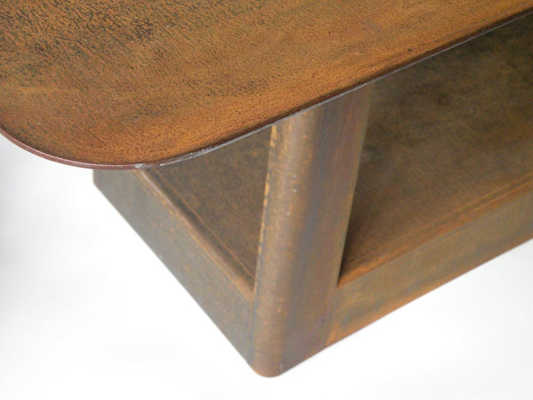 'Table&Cloth' Indoor and Outdoor Corten Steel Table with Leather Cloth In New Condition For Sale In Amsterdam, NL