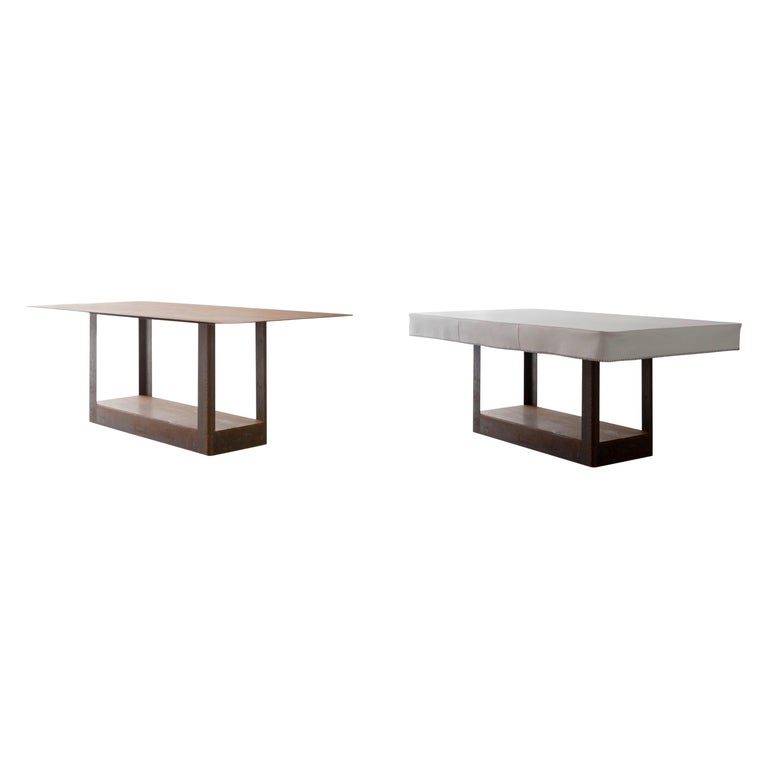 'Table&Cloth' Indoor and Outdoor Corten Steel Table with Leather Cloth For Sale