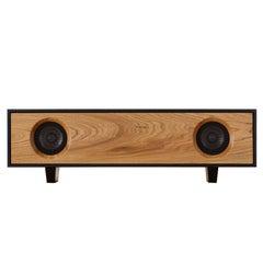Tabletop HiFi Speaker: Jet Black Cabinet with Natural Oak Speaker Front