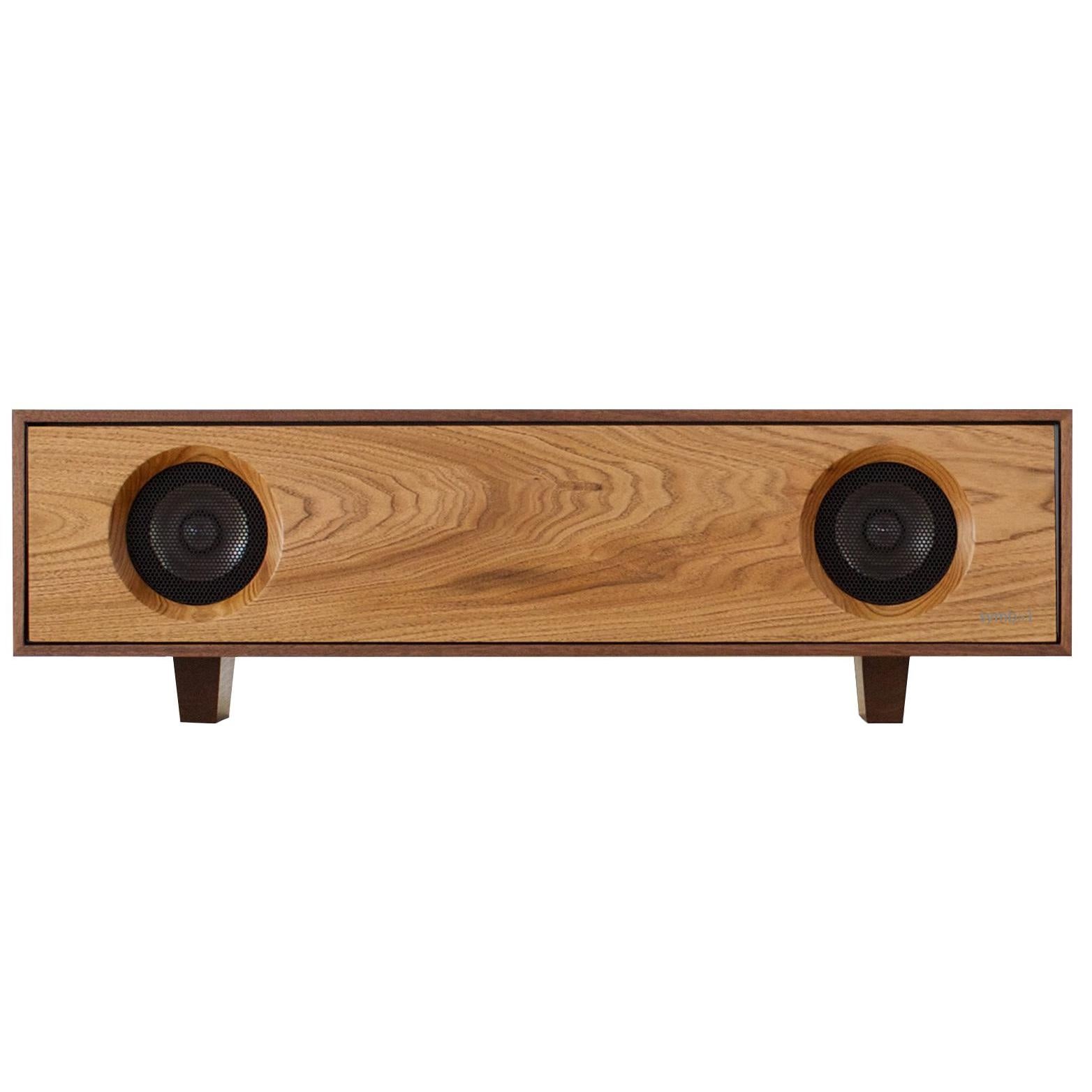 Tabletop hifi speaker jet black cabinet with natural oak speaker front for sale at 1stdibs