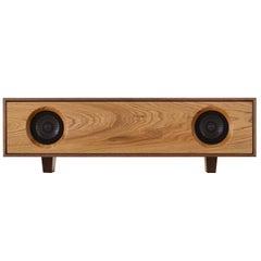 Tabletop HiFi Speaker, Natural Walnut Cabinet with Natural Oak Speaker Front