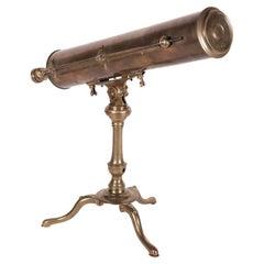 Tabletop Reflector Telescope B. Martin Brass Glass London England, 1800