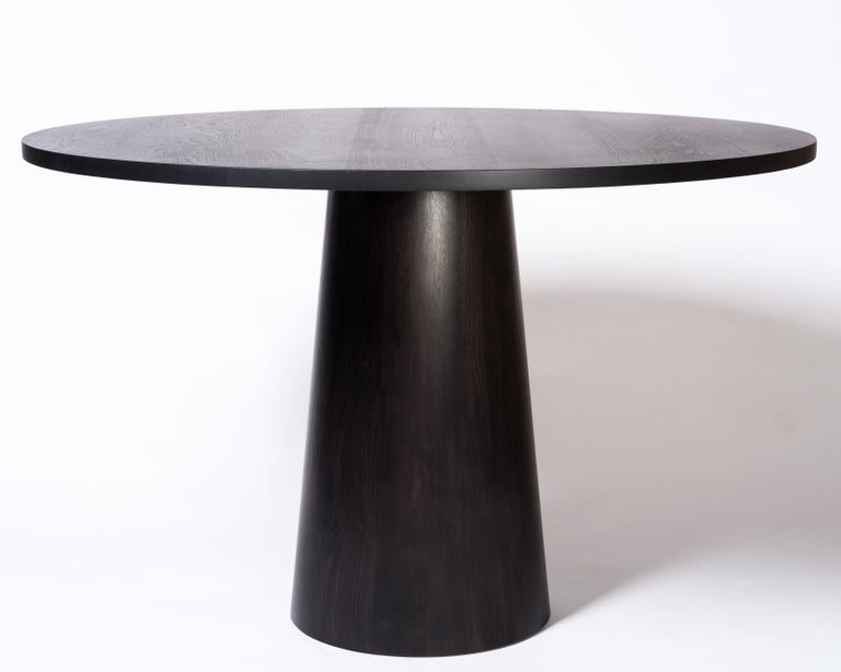 Modern Tabor Dining Table by Tretiak Works, Contemporary Oxidized Walnut Round Pedestal For Sale