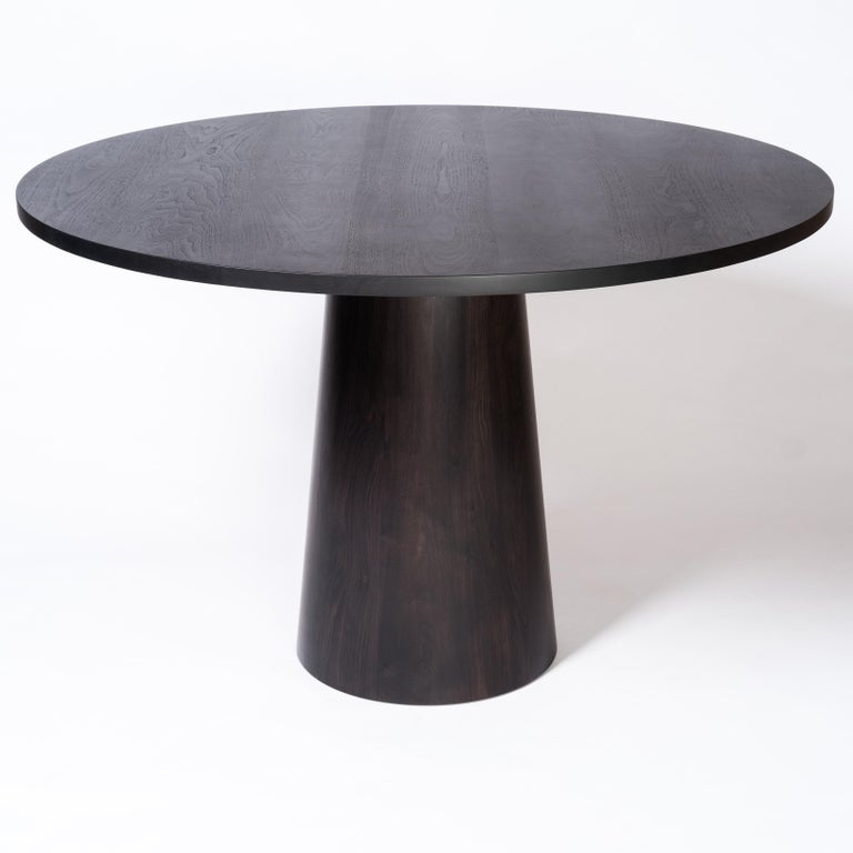 Tabor Dining Table by Tretiak Works, Contemporary Oxidized Walnut Round Pedestal In New Condition For Sale In Portland, OR