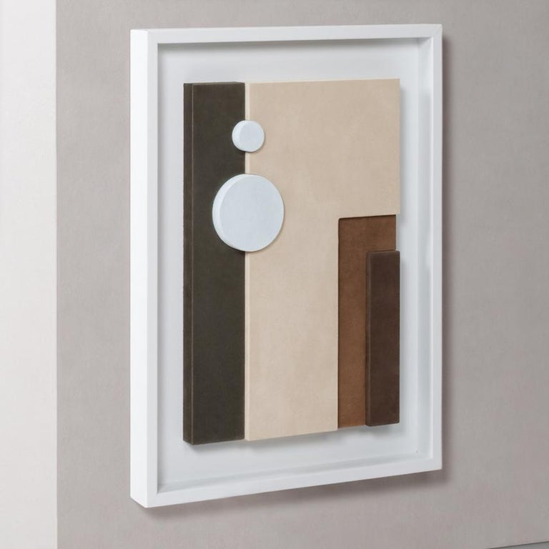 Mid-Century Modern Tabou Cornice 3 Decorative Wall Sculpture HAP123 White Frame For Sale