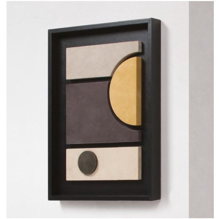 Mid-Century Modern Tabou Cornice Four Decorative Wall Sculpture Black Frame For Sale