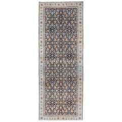 Multi Color Antique Persian Tabriz Runner with Herati Design in Black Background