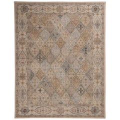 Tabriz Inspired White Blue and Gold Wool Rug from the Rug & Kilim's Homage